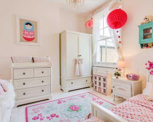 mid sized eclectic girl painted wood floor and white floor kids bedroom photo in - Teen Girl Room Furniture