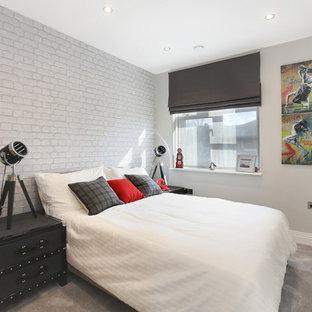 Пример оригинального дизайна: детская среднего размера в стиле модернизм с серыми стенами, ковровым покрытием и серым полом для подростка, мальчика
