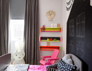 Fun Neon Toddler Bedroom. By Born & Bred Studio