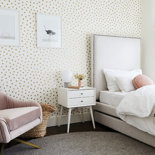 Inspiration for a scandinavian girl dark wood floor kids' room remodel in New York with multicolored walls