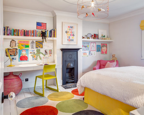elegant kids room photo for girls in london with gray walls and painted wood floors - Kids Interior Design Bedrooms
