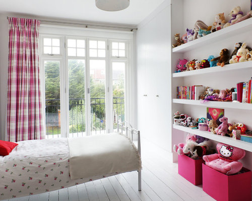 Inspiration For A Classic Childrenu0027s Room For Girls In London With Painted  Wood Flooring, White