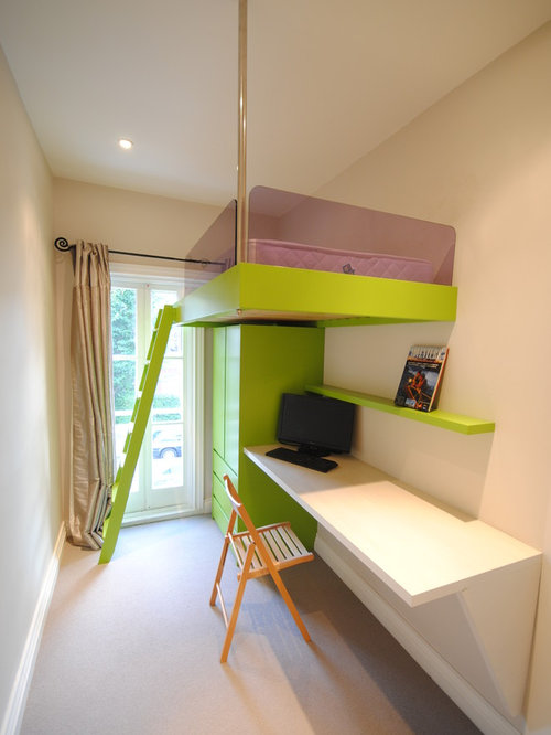 example of a small trendy gender neutral kids room design in london with white - Teen Room Furniture