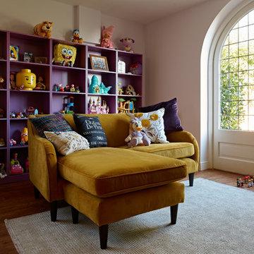 L-shaped sofa & shelving