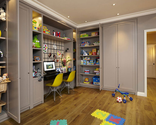playroom and office. Example Of A Transitional Gender-neutral Medium Tone Wood Floor Playroom Design In London With And Office
