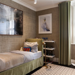 Design ideas for a small contemporary children's room for boys in London with grey walls.