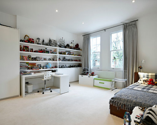 Large trendy boy carpeted kids  bedroom photo in London with white walls Boy Bedroom Houzz