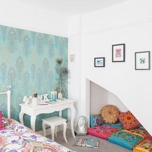 Inspiration for a medium sized scandinavian kids' bedroom in Sussex with white walls, carpet, grey floors and wallpapered walls.