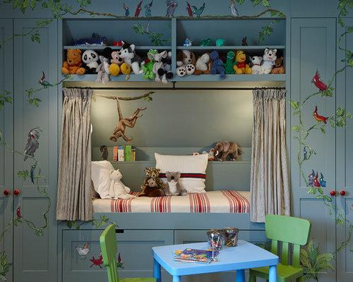 Elegant Gender Neutral Kidsu0027 Room Photo In London With Gray Walls