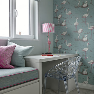 Inspiration for a medium sized contemporary kids' bedroom for girls in London with carpet, grey floors and multi-coloured walls.