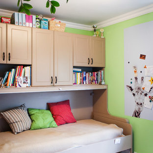Small contemporary gender neutral teen's room in Berkshire with green walls and ceramic flooring.