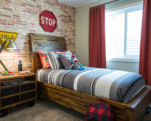 Industrial calgary kids 39 room design ideas remodels photos - Chambre ado style industriel ...