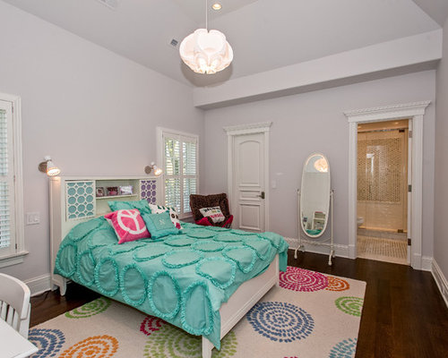 inspiration for an eclectic girl dark wood floor kids room remodel in chicago with gray - Luxury Teen Bedroom