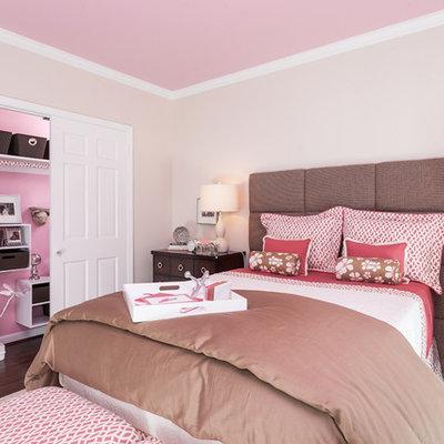 Kids' room - traditional girl dark wood floor kids' room idea in Baltimore with pink walls