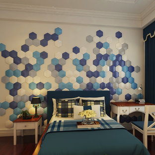 Inspiration for a small modern gender-neutral dark wood floor kids' room remodel in Other with blue walls