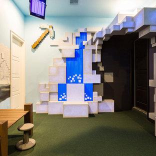 Foto de dormitorio infantil minimalista, grande, con paredes multicolor y moqueta
