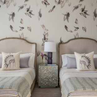 Inspiration for a rustic girl carpeted and wallpaper kids' bedroom remodel in Other with multicolored walls