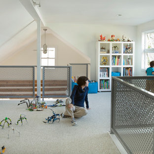 Kids' room - large contemporary gender-neutral carpeted kids' room idea in Boston with white walls