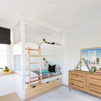 Large transitional gender-neutral carpeted and beige floor kids' room photo in San Diego with white walls