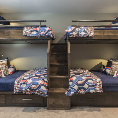 Kids' room - rustic carpeted and gray floor kids' room idea in Other with gray walls