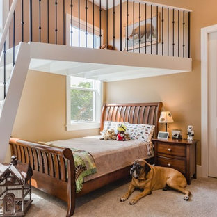 Design ideas for a classic children's room for boys in Miami with beige walls, carpet and grey floors.