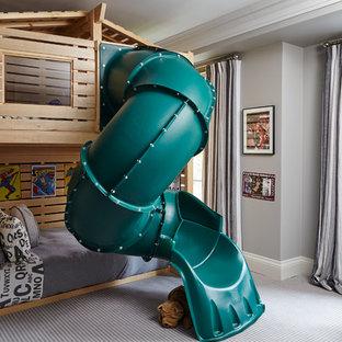 Diseño de dormitorio infantil de 4 a 10 años, de estilo americano, de tamaño medio, con paredes grises, moqueta y suelo gris