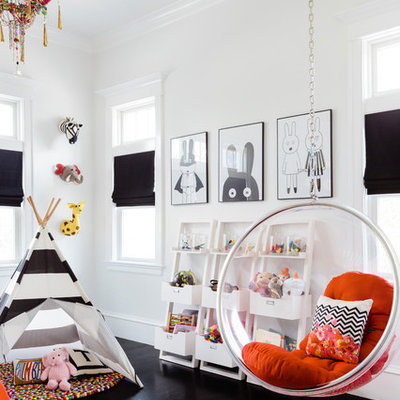 Inspiration for a transitional dark wood floor kids' room remodel in Boston with white walls