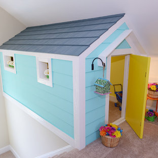 Playroom - small traditional gender-neutral carpeted playroom idea in Raleigh with white walls