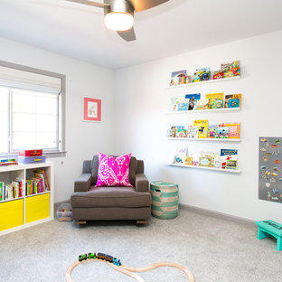 Mid-sized danish gender-neutral carpeted and gray floor kids' room photo in San Francisco with white walls