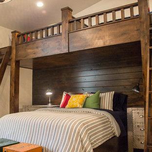 Foto di una cameretta per bambini stile americano di medie dimensioni con pareti beige e moquette