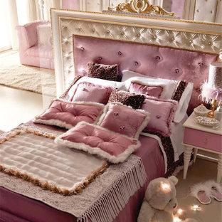 Esempio di una grande cameretta per bambini moderna con pareti viola e moquette