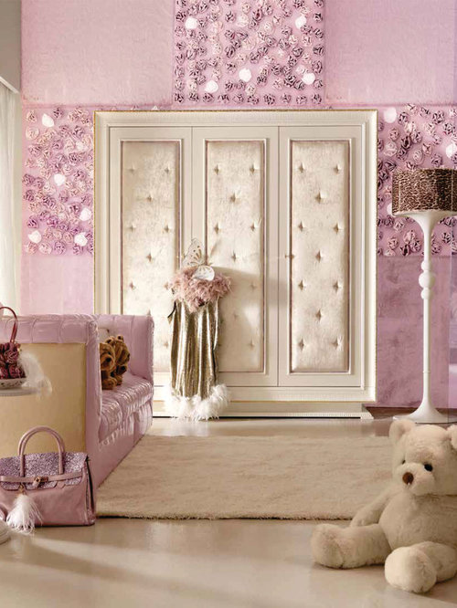 Large minimalist girl carpeted kids' room photo in London with pink walls.  Save Photo. Imagine Living. AltaModa Dolly