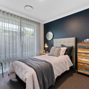 Design ideas for a contemporary teen room for boys in Perth with blue walls, carpet and brown floor.