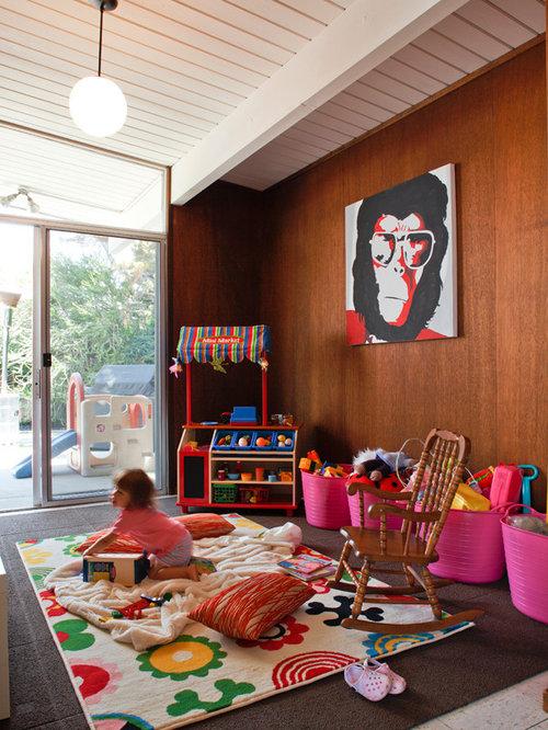 mid century kinderzimmer mit brauner wandfarbe ideen design bilder houzz. Black Bedroom Furniture Sets. Home Design Ideas