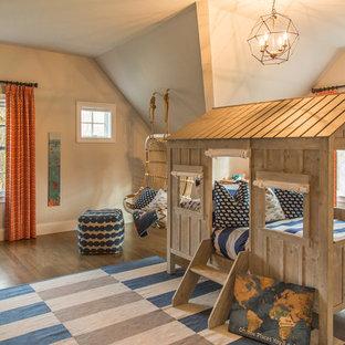 Kids' bedroom - mid-sized transitional gender-neutral dark wood floor and brown floor kids' bedroom idea in Boston with gray walls