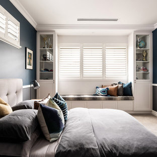Inspiration for a transitional kids' room in Perth with blue walls, carpet and beige floor.