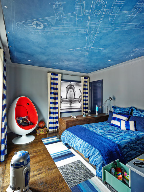 Airplane theme houzz for Airplane bedroom ideas