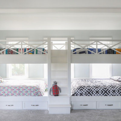 Kids' room - large transitional gender-neutral carpeted and gray floor kids' room idea in Milwaukee with gray walls