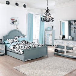 """Ashley - With a soft light blue finish beautifully highlighting to white of the shaped drawer front frames, the contemporary design of the """"Mivara"""" youth bedroom collection flawlessly captures the innocence of youth. With the versatility of the three interchangeable drawer front designs along with the option of adding trundle/under bed storage, your child has the opportunity to transform the decor to create the bedroom of their dreams."""