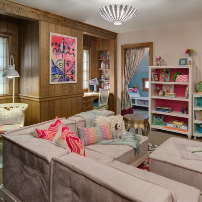 Example of a classic girl carpeted playroom design in Minneapolis with multicolored walls