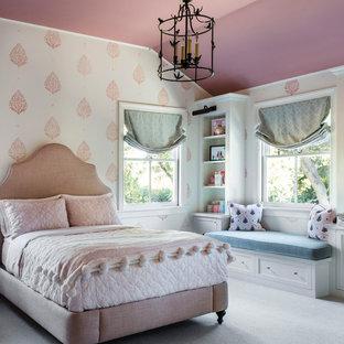 Idee per una cameretta per bambini da 4 a 10 anni chic di medie dimensioni con moquette, pareti multicolore e pavimento grigio