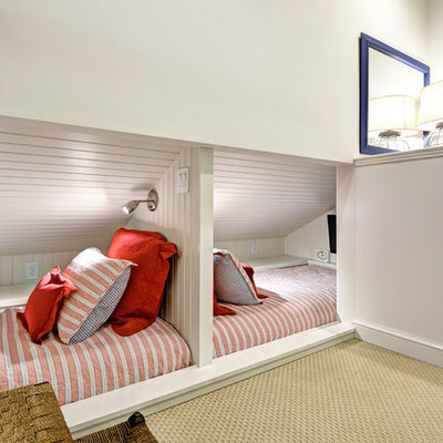 Small beach style gender-neutral carpeted and beige floor kids' bedroom photo in Charleston with white walls