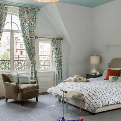 Example of a large eclectic gender-neutral carpeted and gray floor kids' room design in Boston with white walls
