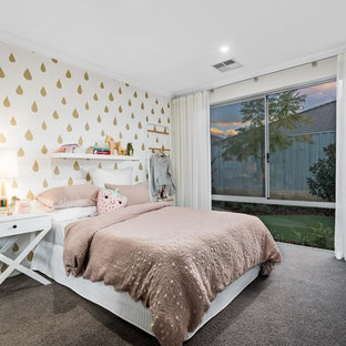 Inspiration for a mid-sized contemporary kids' bedroom for kids 4-10 years old and girls in Perth with white walls, carpet and brown floor.
