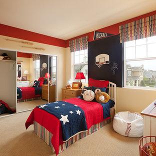 Kids' room - small contemporary boy carpeted kids' room idea in Santa Barbara