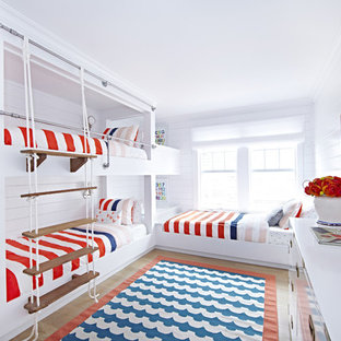 Mid-sized coastal gender-neutral light wood floor kids' room photo in New York with white walls