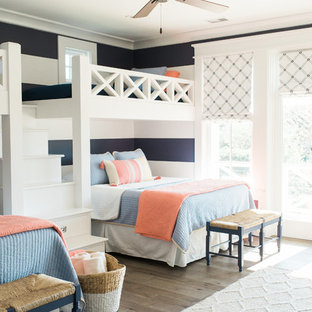 Design ideas for a nautical gender neutral children's room in Charleston with multi-coloured walls and medium hardwood flooring.