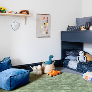 Design ideas for a mid-sized contemporary kids' room in Melbourne with carpet, grey floor and white walls.