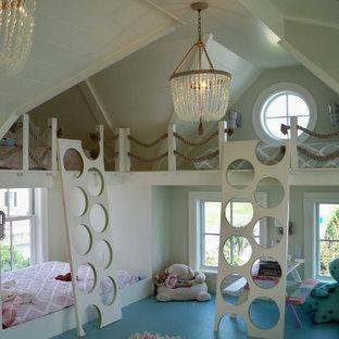Foto de dormitorio infantil de 1 a 3 años, costero, con suelo azul