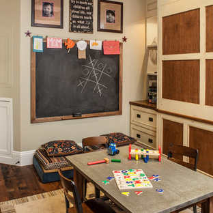 Coastal gender-neutral dark wood floor kids' room photo in Los Angeles with beige walls